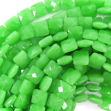 """10mm faceted green chalcedony quartz flat square 15.5"""" strand"""
