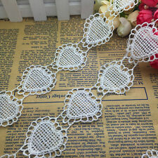 NEW 1 Yards 45mm White Heart-Shaped Embroidered Sewing Applique Lace Trim