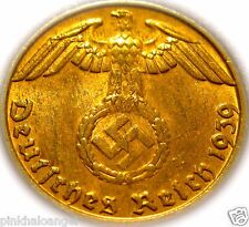 German 3rd Reich 1939B Reichspfennig Coin Swastika - Nazi Germany WW 2
