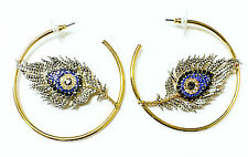 Beautiful Hoop Style Eye and Feather Women's Fashion Earring