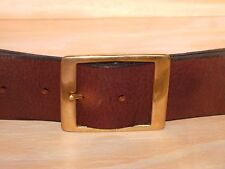Brass Rectangle 2 Inch 50mm Wide Leather Jean Belt Waist Size Small Medium Large
