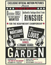 1951 Boxers JOE LOUIS vs ROCKY MARCIANO Glossy 8x10 Photo Match-Up Poster
