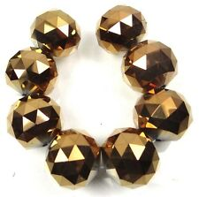 20mm Large Metallic Golden Bronze Glass Quartz Faceted Round Ball Focal Beads