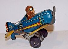 Vintage MAR Tin Litho Wind-up Toy Plane with key (Works)