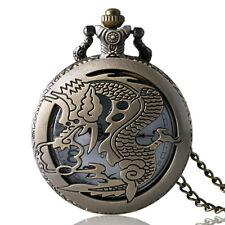 Antique Bronze Hollow Dragon Pendant Quartz Pocket Watch Men Women Cool Necklace