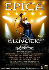 "EPICA /ELUVEITIE/SCAR SYMMETRY ""THE ULTIMATE ENIGMA"" 2015 UK CONCERT TOUR POSTER"
