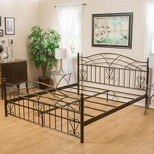 Victorian Inspired Copper Gold Iron Bed Frame in Cal-King
