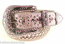 BB Simon Swarovski Crystal Pink Leather Belt 34 L New