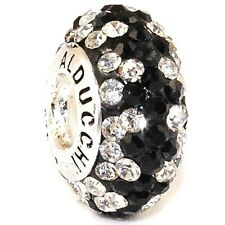 Authentic Alducchi Clear -Black Crystal 925 Sterling Silver European Charm Bead