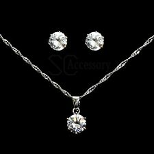 Crystal Zircon Style Necklace Pendant & Earrings Wedding Jewellery Set PS010