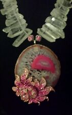 STUNNING SNOWFLAKE PINK WHITE AGATE ROCK BRANCH CRYSTAL NECKLACE