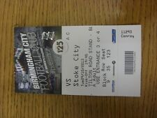 29/10/2013 BIGLIETTO: Birmingham City V STOKE CITY FOOTBALL LEAGUE CUP [] (piegato).