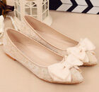 Ivory silk satin mesh Wedding shoes flat ballet lace Bridal shoes Size 5.5-9