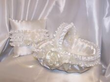 Ivory Satin White Ruffles Flower Girl Basket Ring Bearer Pillow Handcrafted