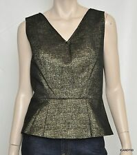 Nwt $198 Tahari ADDYSON Blouse Sleeveless V-Neck Peplum Top Tank Tunic Black *XL