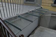 Edelstahl Vordach mit 45 Grad Spitze + VSG in Klarglas 400cm x 120cm x 10,76mm