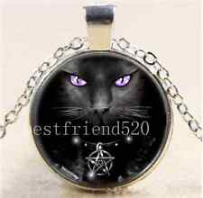 Wicca Black Cat Photo Cabochon Glass Tibet Silver Chain Pendant Necklace