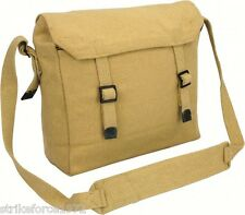 NEW Retro Style Desert Tan Army Canvas Webbing Haversack Satchel Messenger Bag