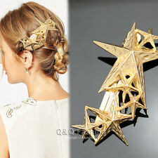 Wedding Prom Gold Shooting Star Hair Pin Clip Cuff Wrap Claw Snap Barrette Gift