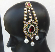 Indian Pearl Side Passa Matha Patti Tikka Headpiece Bridal Wedding Hair Jewelry