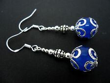 A PAIR OF DANGLY BLUE JADE BEAD EARRINGS WITH 925 SOLID SILVER HOOKS. NEW..