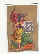 Portugal Fruit Girl Flag Staff Stamp No Advertising Gold Vict Card  1880s
