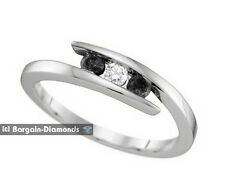 black white diamond .25 carat 3-stone eternal love promise ring 925 white band