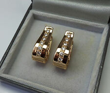 9ct Gold Plated CZ Set Huggie Earrings 23mm x 16mm.