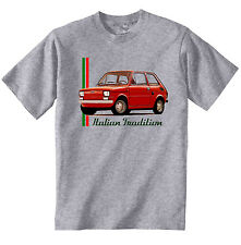 FIAT 126 1972 INSPIRED - NEW COTTON GREY TSHIRT - ALL SIZES IN STOCK