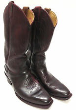 Justin Boots 7.5 2418 Black Cherry Grizzly Leather Mens Cowboy Western J23 Toe