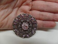 CATHERINE POPESCO FRANCE Lavender Crystal Filigree Brooch! Gorgeous!