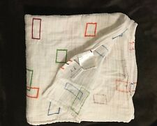 """ADEN ANAIS MUSLIN COTTON SWADDLE BLANKET WHITE WITH GREEN BLUE RECTANGLES 46X46"""""""
