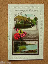 Vintage Postcard: Greetings for your 21st, Cottage and River Scene, Flowers