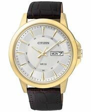 New Citizen Men's Dress Gold Tone Stainless Steel Leather Strap Watch BF2018-01A