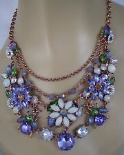 BETSEY JOHNSON SPRING FLING PURPLE FLOWER ROSE GOLD STATEMENT NECKLACE~NWT