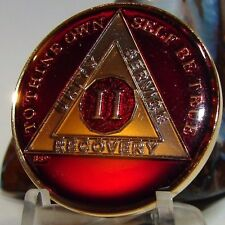 Red Alcoholics Anonymous 2 Year AA Medallion Coin Chip Token Sobriety Sober