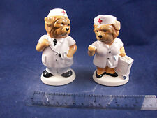 NIB Modern Hospital Doctor & Nurse Dog Couple Salt & Pepper Shakers C85B25