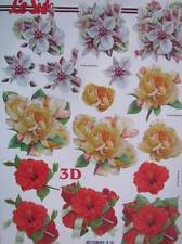A4 3D Paper Tole Pretty Bunches of Flowers 3 pictures NEW