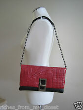 PAOLA DANGOND Roche Red Black Crocodile/Leather Chain Strap Evening Bag Handbag