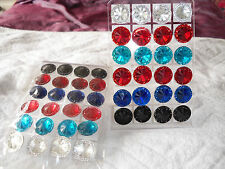 Joblot of 24 Pairs Round shape mixed colour stud Earrings - NEW Wholesale