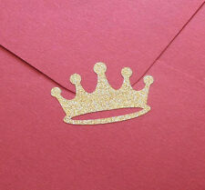 35 Gold Glitter Crown stickers, gold crown labels, princess party invitation