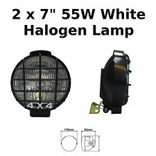 "2 x 7"" Black Car Van Round Driving Halogen Spot Lamps Lights Grills 4x4 - 789"