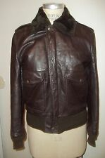 Vintage SCHOTT BROS. Zip-Front Genuine Leather Bomber Flight Pilot Jacket  36