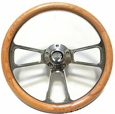 1960 - 1969  GMC Pick Up Trucks Chrome & Oak Steering Wheel for Flaming River SC
