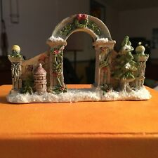 Christmas Village Christmas Archway Gate Glittered/Frosted Cobblestone Corners