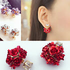 1 Pair Women Girls Jewelry Elegant Rose Flower Crystal Rhinestone Stud Earring