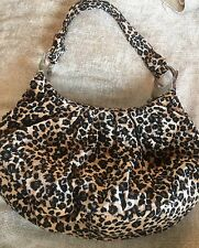 LEOPARD PRINT VELOUR HAND BAG WITH BLACK BEADING