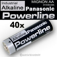 40x MIGNON AA LR6 MN1500 Batterie PANASONIC POWERLINE INDUSTRIAL