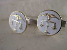 Scales of Justice   logo  pair Cufflinks      in white