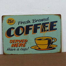 Coffee Cup Tin Sign Metal Poster Retro HOME RESTAURANT KITCHEN Vintage WALL Deco